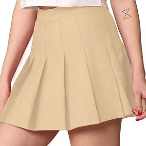 🆕 Pleated Khaki Skater Skirt